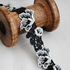 Embroidery Guipure Lace Trim - Rose Flower Leaf - Black / Watermelon Pink