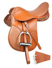 16 17 18 Leather All Purpose Jump English Riding Saddle Stirrups Extras Package