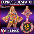 60s 70s Retro Hippy GoGo Girl Fancy Dress Costumes Size 6-24