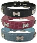 Dog Collar Bone Diamante Emblems on Croc Effect Leather - UK stocked!