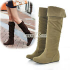 S0BZ Hot Korean Women UP Flats Inside Flat Heel Mid-Calf Boots Snow Boots Shoes