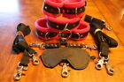 10 pc leather set wrist ankle collar- bed restraint soft fuschia fleece or choos