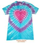 T Shirt Tie Dye, All Sizes,  Heart, Blue and Purple, crafted in the UK