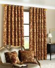 HEAVY WEIGHT 5kgs.CHENILLE ANTIQUE GOLD RING TOP EYELET CURTAIN PAIR. 66 x 90