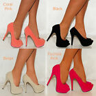 LADIES FUSCHIA CORAL PINK SUEDE BLACK BEIGE PLATFORM SHOES HIGH HEELS SIZES 3-8