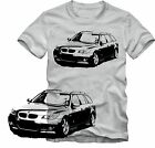 T-Shirt  BMW E61 5er Touring  Tuning T-Shirt   Retro Style S/W Grafik DTG