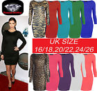 WOMENS PLUS SIZE BODYCON LONG SLEEVE LADIES STRECH BODYCON MINI DRESS SIZE 16-22