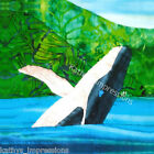 Jumping HUMPBACK WHALE No Border~ Batik Fabric Quilt Panel Block~ Hawaii Alaska