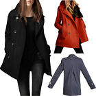 New Women Wool Blend Trench Coat Slim Cashmere Overcost Double Breasted Jacket