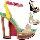 Ladies Womens Cut Out Wedge High Heel Platform Strappy Peeptoe Sandals Shoes