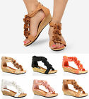 WOMENS LADIES FLAT WEDGE HEEL FLAT ZIP OPEN TOE SUMMER BEACH FLOWER SANDALS SIZE