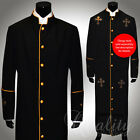 Clergy Robe All Sizes Black Gold Piping Cross Sequins Cassock Full Length