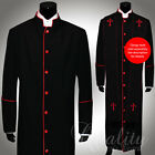 Clergy Robe All Sizes Solid Black Red Piping Cassock Full Length Preacher $200