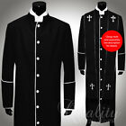 Clergy Robe All Sizes Solid Black White Piping Cassock Full Length Preacher $200