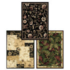 "Contemporary Black Multi Floral 5x8 Persian Blocks Area Rug -Actual 5' 2""x7' 2"""