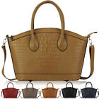 Ladies Womens Croc Animal Tote Satchel Shoulder Bag Shopper Crossbody Handbag