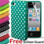 Durable Fitted Polka Dot Hard Gel Silicone Case Cover for Apple iPhone 4 4S