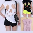 Sexy Women's Cut Out Back Skull Tops Blouses Sleeveless T-Shirt  Vest 3 Colors