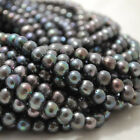 "15"" Strand Natural Freshwater Pearl Beads Round / Potato Silver Grey 5 - 9mm"