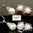 SALE Bridesmaid Pearls 18K White Gold Plated Earrings & Necklace Prom  A763s