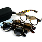 Flip Up Steampunk Sunglasses 50s Round Glasses Cyber Goggles Vintage Retro Style