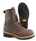 CAROLINA WATERPROOF STEEL SAFETY TOE LEATHER WORK LOGGER BOOT CA9821 BROWN WIDE