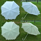 """35""""White/Light Yellow Lace Parasol Wedding Bridal Party Umbrella with Metal Hook"""