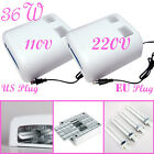 Pro. 36W EU 220V US 110V Nail Art UV  Gel Curing Tube Light Dryer 4 X 9W Lamp