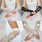 White & Black Lace Fingerless Elbow Length Wedding Gloves w/ Satin Hem Elegant