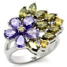 2.5 CARAT PURPLE YELLOW GREEN PEAR MARQUISE CZ FLOWER COCKTAIL RING