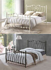 New Inova 4ft6 Double Or 5ft King Size Ivory Metal Bed Frame & Mattress Deal