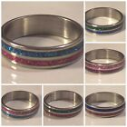SIZE 10 - 2 Color -Crystal Powder - Stainless Steel Ring - 6 Styles - U108