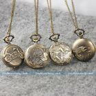 Antique Vintage Bronze Tone Pocket Chain Quartz Pendant Watch Necklace Gift