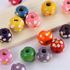 100/500 Wholesale Wood Round Loose Spacer Bead Polka Dot Printed Finding 9x10mm