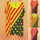 Korea Women Casual Loose Stars Stripes Fashion Tee T-shirts Short Sleeve New Top
