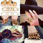 9pc Punk Silver Gold Plain Metal Thin/Wide Band Above Midi Knuckle Rings Mid Top