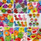 5/20/100pcs mixed wood cartoon flower heart flatback/beads/buttons craft U pick