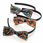 New Large 11cm Gold Sequin Embroidered Flower Side Ribbon Bow Hair Alice Band