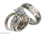 His and Hers Wedding Rings 4  Piece Cz Ring Set Sterling Silver & Titanium