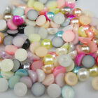 DIY 4MM/6MM/8MM/10MM Half Pearl Beads Flat Back Scrapbook for Craft Pick Colors
