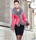 100% Real Genuine Sheep Leather Coat Jacket Fox Fur Collar Lady Vintage Winter