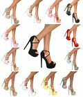 LADIES PEEP TOE PLATFORM STRAPPY STILETTO HIGH HEEL SHOE PARTY SANDAL PUMP SIZE