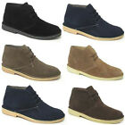 MENS LEATHER DESERT BOOTS NEW BOYS SUEDE ANKLE LACE UP CASUAL CLASSIC SHOES SIZE