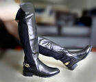 WOMENS LADIES HIGH OVER THE KNEE ELASTIC STRETCH FULL ZIP LOW HEEL BOOTS SIZE