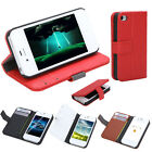 Durable Fashion Case Flip Leather Stand Cover with Card Holder for iPhone 4 4S