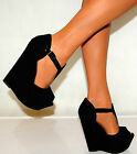 LADIES BLACK SUEDE PEEP TOE PLATFORMS WEDGES HIGH HEELS SHOES 3-8