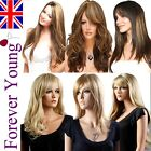 Ladies Fashion Long Wig Blonde Red Black Brown Wig Straight Wavy Vogue Wigs UK