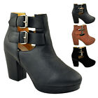 LADIES WOMENS MID HEEL CHELSEA BOOTS TWIN STRAP BUCKLE CUT OUTS ANKLE SHOES SIZE