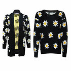 New Women's Ladies Long Sleeve Knitted Daisy Flower Jumper Top One Size 8-14