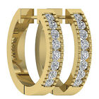 Natural SI1/G 0.50Ct Round Diamond Jewelry 14K Yellow Gold Hoops Huggie Earrings
